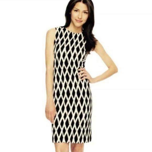 J. McLaughlin Black White Sleeveless Sheath Dress